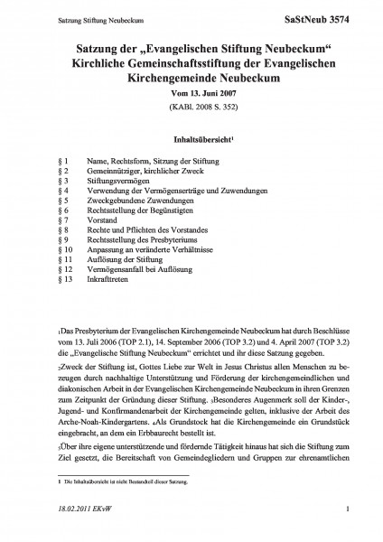 3574 Satzung Stiftung Neubeckum