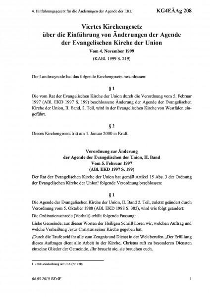208 4. Einführungsgesetz für die Änderungen der Agende der EKU