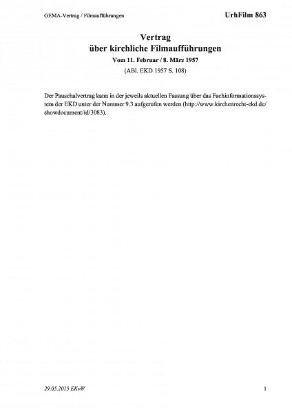863 GEMA-Vertrag / Filmaufführungen