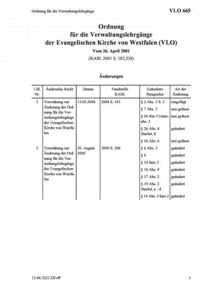 665 Ordnung für die Verwaltungslehrgänge