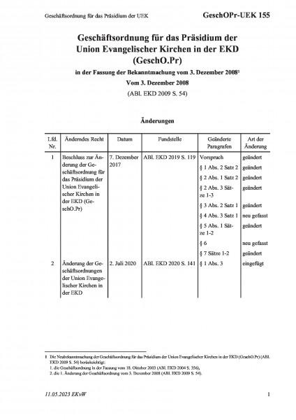 155 Geschäftsordnung für das Präsidium der UEK