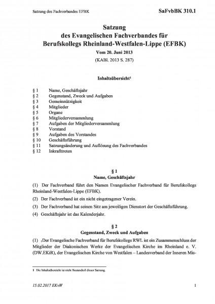 310.1 Satzung des Fachverbandes EFBK