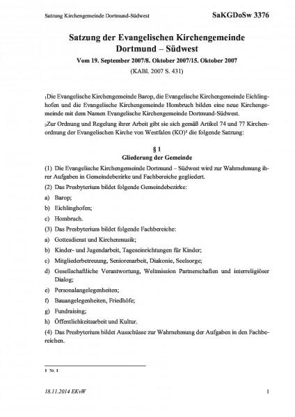 3376 Satzung Kirchengemeinde Dortmund-Südwest