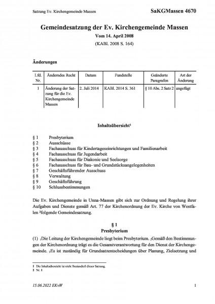4670 Satzung Ev. Kirchengemeinde Massen